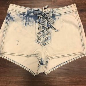 Tie up acid wash shorts